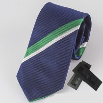 100% Silk Navy Blue Striped Mens Tie