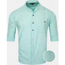 Casual Cotton Aqua Blue Shirt With Chinese Collar