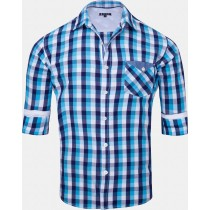 Casual Cotton Blue And White Check Shirt