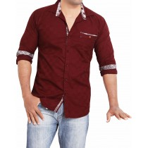 Casual Cotton Maroon Stripes Shirt