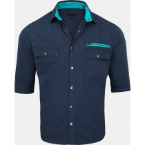 Mens Casual Cotton Blue Shirt