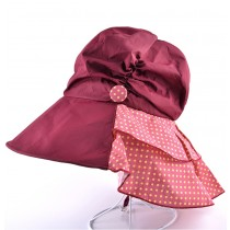 Womens Fashion Anti-uv Buckle Solid Colors Foldable Hat