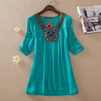 Aqua Embroidery Women Plus Size Top