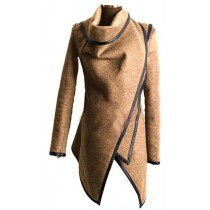 Beige Cross Long Sleeve Women Winter Coat