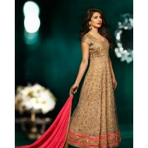 Beige Net Embroidered Long Anarkali Suit