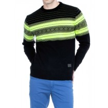 Black And Green Jacquard Knit Pullover
