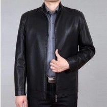 Black Leather Mens Plus Size Jacket