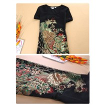 Black Phoenix Embroidery Plus Size Top