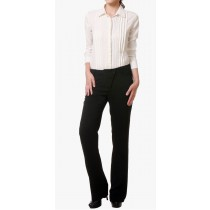 Black Polyester Blend Casual Trousers
