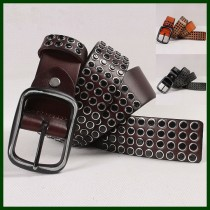 Black Rivet Genuine Leather Belts