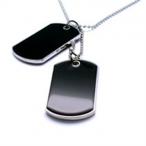 Black Tactical Style Mens Fashion Pendant 2 Pcs