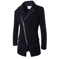 Black Winter Slim Fit Fashion Long Jacket