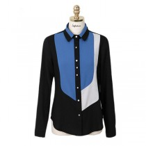 Block Collar Long Sleeve Chiffon Women Shirts
