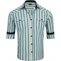 Blue And Orange Striped Slim Fit Casual Shirt
