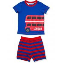 Blue And Red Printed Short Sleeve Nightwear