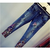 Blue Beading Pattern Pencil Women Jeans