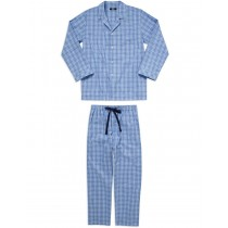 Blue Checkered Pattern Cotton Nightwear