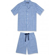 Blue Checkered Top And Short Set Nightwear