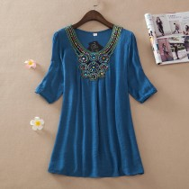 Blue Colored  Embroidery Plus Size Top