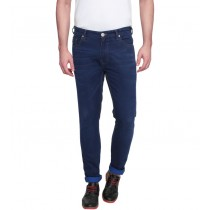 Blue Colored Slim Fit Cotton Casual Trouser