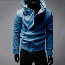 Blue High Collar Mens Cotton Jacket