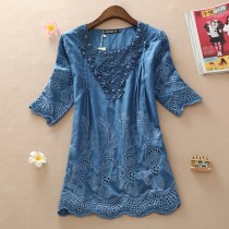 Blue Loose Cutout Lace Plus Size Women Top