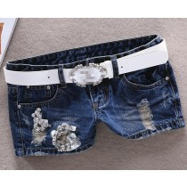Blue Regular Fit Women Cotton Shorts