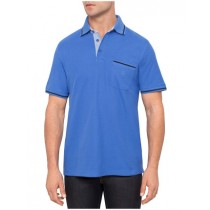 Blue Short Sleeve Cotton Polo Tshirt