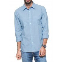 Blue Striped Casual Shirt With Pockets2