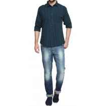 Blue Striped Slim Fit Casual Shirt With Pocket