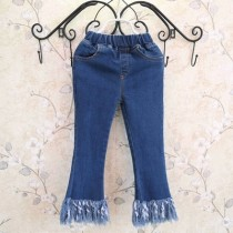 Blue Tassel Boot Cut Fashion Girl Jeans