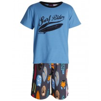Blue Tshirt And Multi Short Printed Nightwear