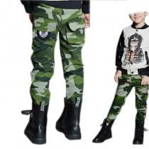 Boys Camouflage Elastic Waist Cargo Trousers