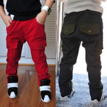 Boys Cotton Elastic Waist Cargo Trousers