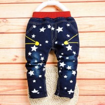 Boys Dark Blue Color Star Printed Jeans