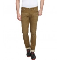 Brown Cotton Slim Fit Casual Trouser