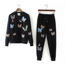 Butterfly Embroidery Women Tracksuit Sets