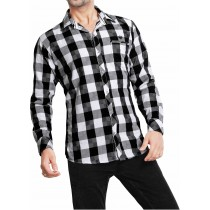 Casual Cotton Black And White Check Shirt