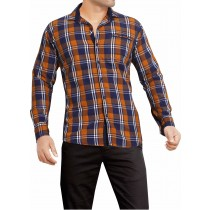 Casual Cotton Blue And Orange Checks Shirt