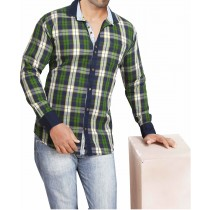 Casual Cotton Green And Blue Checks Shirt
