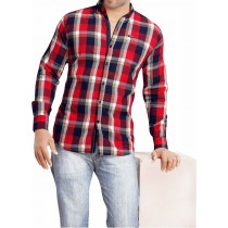 Casual Cotton Red And White Checks Shirt