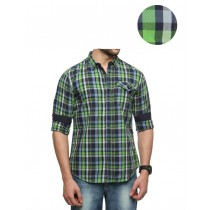 Casual Slim Fit Green Checkered Shirt