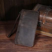 Coffee Genuine Leather Mens Long Wallet