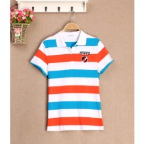 Colorful Striped Classic Loose Women Polos