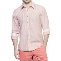Contrast Stitching Pink And Beige Striped Casual Shirt 5