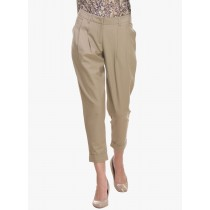 Cotton Blend Beige Solid Casual Trouser