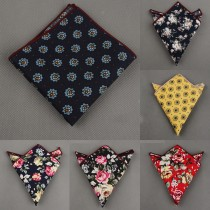 Cotton Flower Printing Mens Pocket Square
