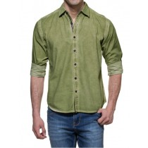Cotton Green Solid Full Sleeves Casual Shirt