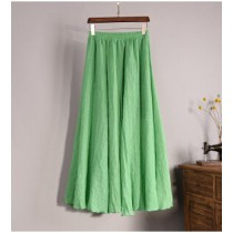 Cotton Linen Double Layer Solid Women Skirts