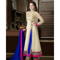 Cream And Blue Designer Long Anarkali Suit